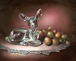 Glass Deer and Grapes by Cheri Rol