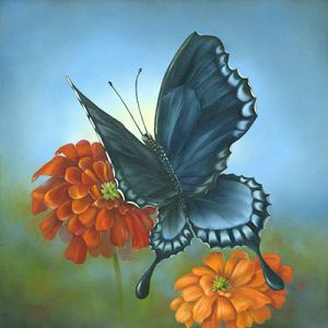 Swallow Tail Butterfly and Marigolds by Cheri Rol
