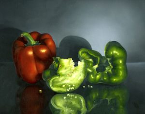 Red and Green Peppers by Cheri Rol