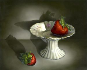 Strawberry on Cake Plate by Cheri Rol