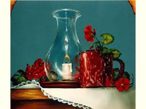 Candle, Cup & Geraniums by Cheri Rol