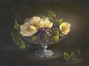 A Pedestal of Roses 'n' Grapes by Cheri Rol