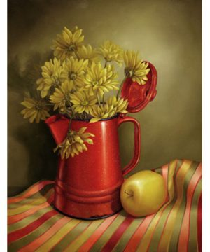Red Granite and Yellow Daisies by Cheri Rol