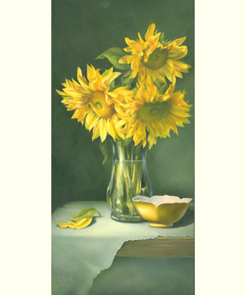 Sunflowers with Tulip Dish by Cheri Rol